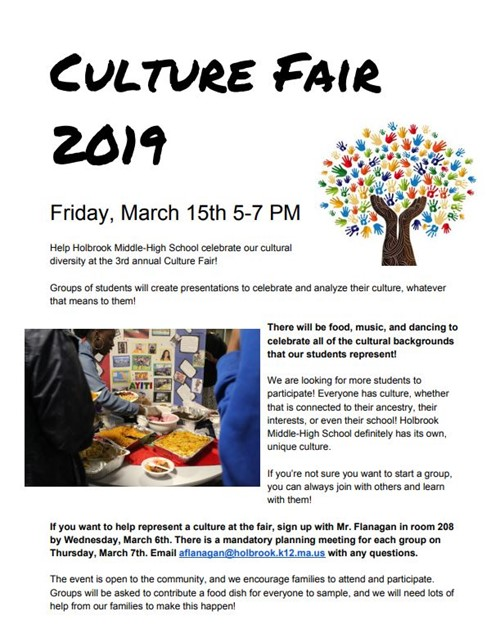 3/15 Cultural Fair - Join us from 5-7PM at HMHS Cafeteria