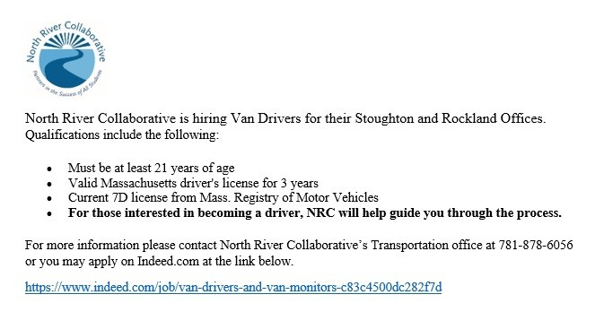 North River Collaborative Van Driver Employment Opportunity